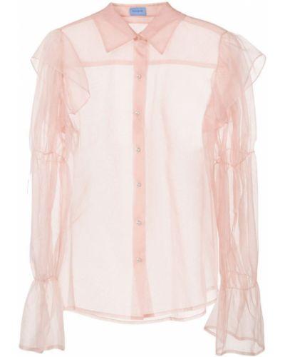 Блузка с длинным рукавом розовая прозрачная Macgraw