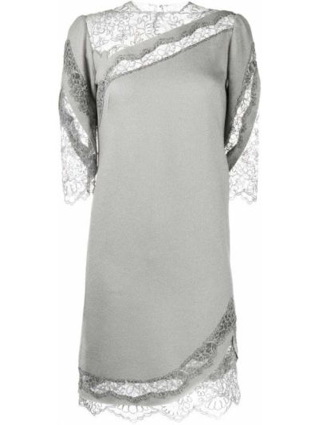 Серое шелковое кружевное платье Ermanno Scervino