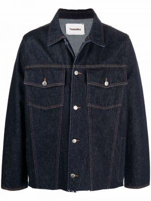 Хлопковая джинсовая куртка - синяя Nanushka