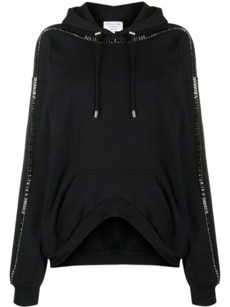 Czarny bluza z kapturem z długimi rękawami z łatami Collina Strada