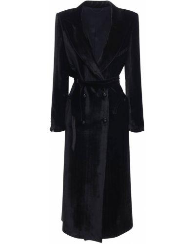 Черное длинное пальто двубортное с карманами Blazé Milano