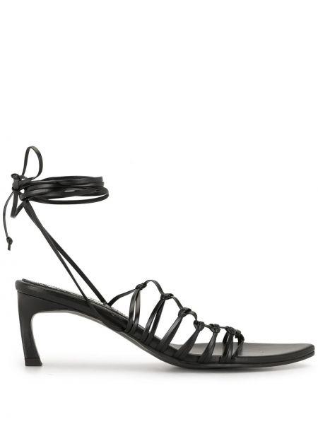 Открытые кожаные черные сандалии на каблуке Reike Nen
