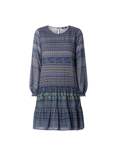 Niebieska sukienka rozkloszowana z długimi rękawami Riani