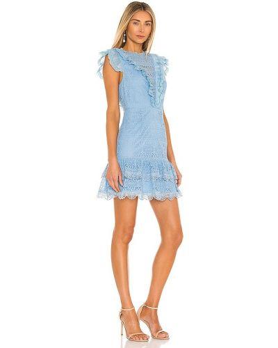 Niebieska sukienka mini koronkowa bawełniana Saylor