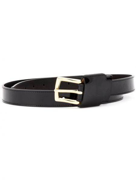 Золотистый кожаный черный ремень с пряжкой Y Project