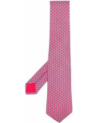 Krawat z printem - niebieski Hermes