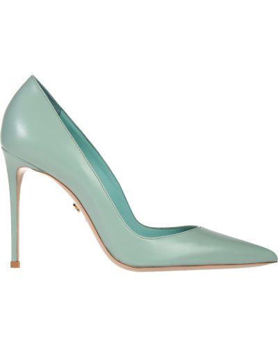 Туфли на каблуке бирюзовый кожаные Le Silla