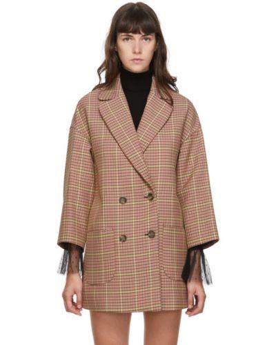 Бежевое длинное пальто в клетку двубортное Red Valentino