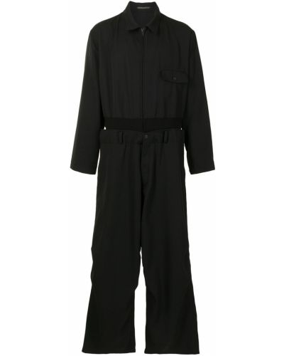 Wełniany czarny kombinezon z długimi rękawami z kieszeniami Yohji Yamamoto