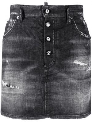 Джинсовая юбка мини - черная Dsquared2