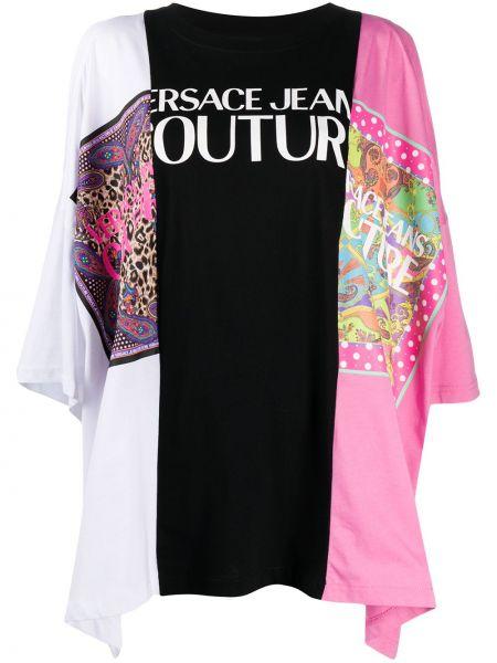 Розовая свободная туника с длинными рукавами пэчворк с круглым вырезом Versace Jeans Couture