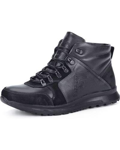 Черные кожаные ботинки на шнуровке Nexpero