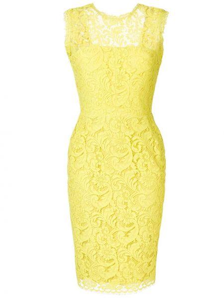 Желтое ажурное платье миди без рукавов с вырезом Sophia Kah