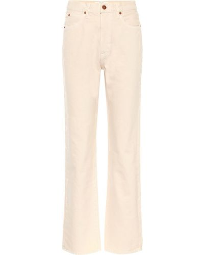 Прямые ватные хлопковые прямые джинсы айвори Slvrlake