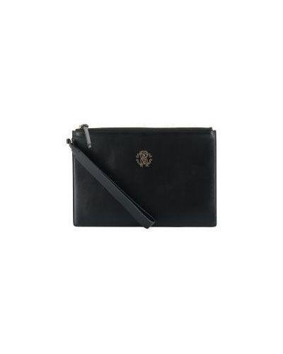 Клатч-конверт черный на молнии Roberto Cavalli