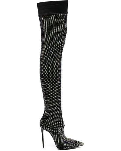 Черные ботфорты на каблуке Le Silla