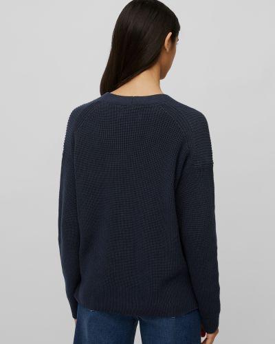 Синее хлопковое длинный свитер на пуговицах Marc O'polo Denim