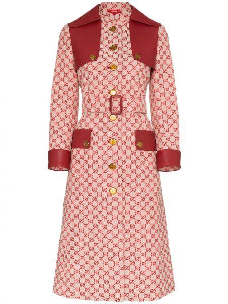 Красное парусиновое кожаное пальто с поясом на пуговицах Gucci