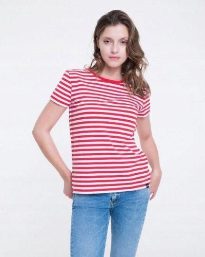 Czerwony t-shirt w paski bawełniany Big Star