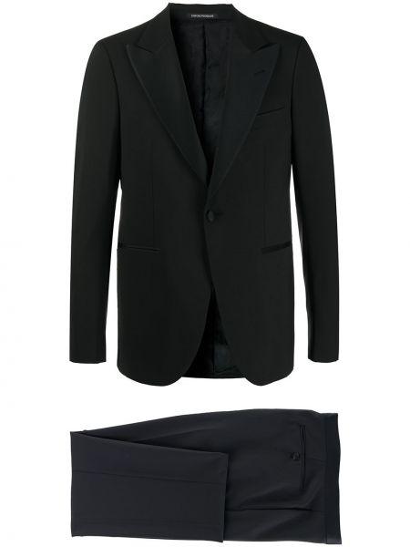 Czarny garnitur wełniany Emporio Armani