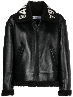 Czarna długa kurtka skórzana z haftem Balenciaga
