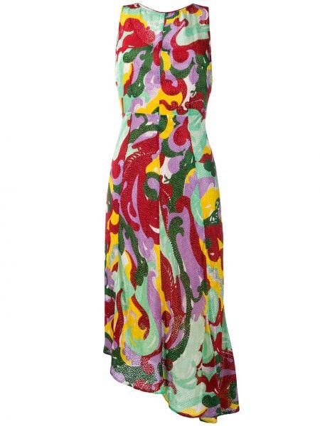 Красное приталенное шелковое платье миди без рукавов La Doublej