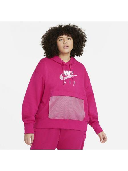 Różowy bluzka z kapturem z haftem Nike