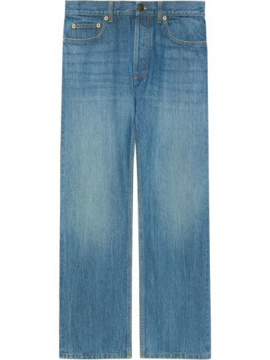 Bawełna niebieski klasyczny jeansy z łatami z kieszeniami Gucci