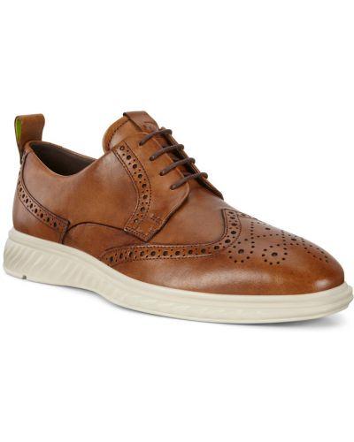 Коричневые кожаные полуботинки на шнурках Ecco