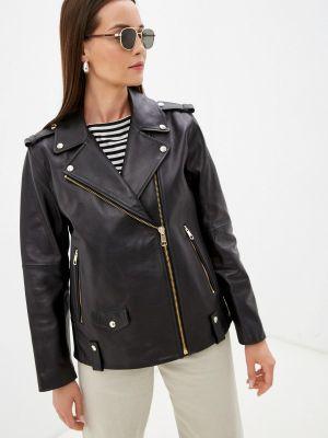 Черная турецкая кожаная куртка Tommy Hilfiger