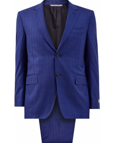 Синий облегающий костюм Canali