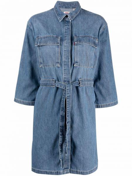Хлопковое синее джинсовое платье с воротником Levi's®