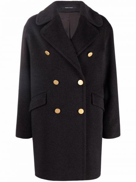 Серое пальто двубортное Tagliatore