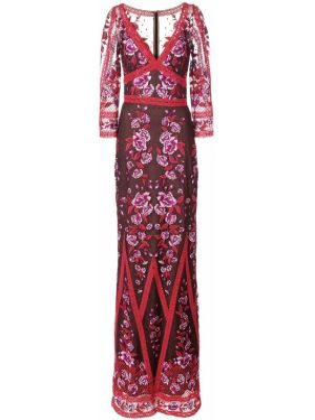 Вечернее платье с вышивкой - красное Marchesa Notte