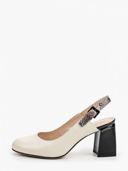 Кожаные туфли с открытой пяткой бежевый Covani