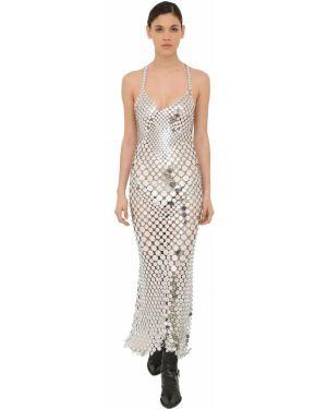 Платье с пайетками на бретелях Paco Rabanne