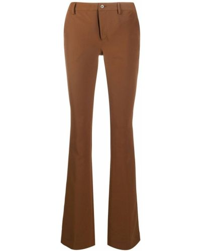 Коричневые расклешенные брюки на молнии Pt01