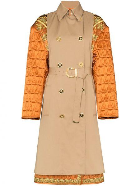 Коричневое пальто с воротником с поясом двубортное Versace