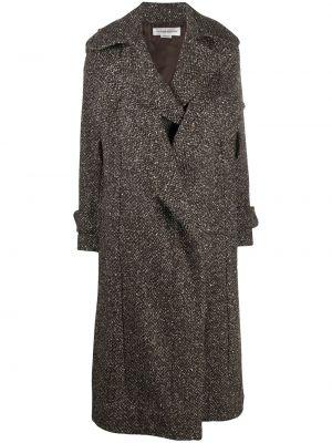 Коричневое шерстяное пальто с поясом Victoria Beckham