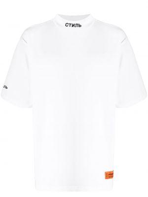 Прямая белая хлопковая футболка с высоким воротником Heron Preston