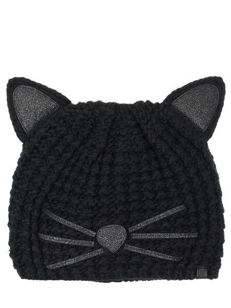 Акриловая черная шапка с вышивкой Karl Lagerfeld