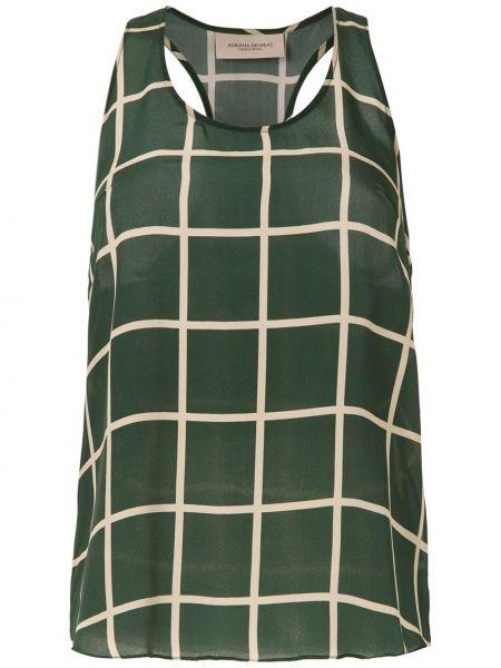 Зеленый шелковый топ без рукавов с круглым вырезом Adriana Degreas