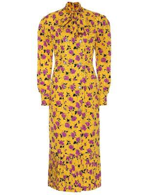 Шелковое платье миди - желтое Alessandra Rich