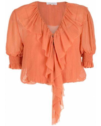Оранжевая шелковая блузка с оборками НК