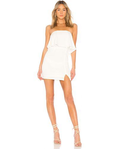 Silikon biały sukienka mini z dekoltem z zamkiem błyskawicznym Superdown
