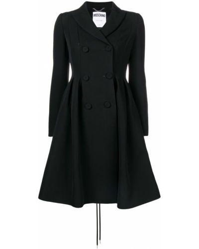 Расклешенное черное длинное пальто с капюшоном Moschino