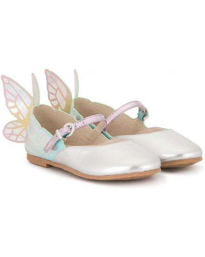 Кожаные серебряные балетки на плоской подошве с бабочкой Sophia Webster Mini