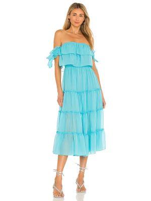 Синее шифоновое платье с подкладкой с декольте Misa Los Angeles
