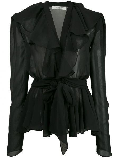 С рукавами шифоновая черная блузка с длинным рукавом с V-образным вырезом Philosophy Di Lorenzo Serafini