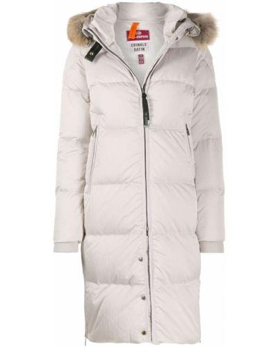 Бежевое длинное пальто с капюшоном с опушкой Parajumpers